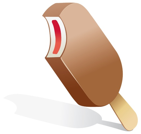 illustration of a chocolate covered ice cream on a stick