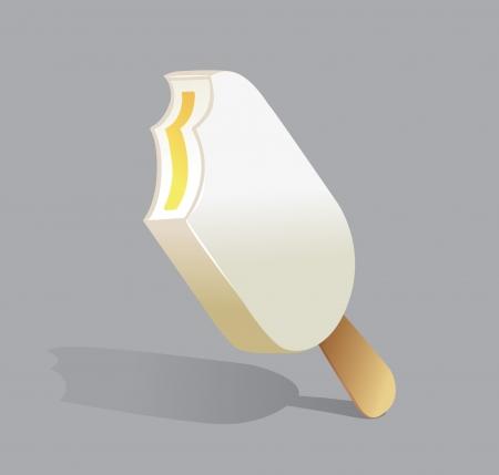 illustration of a double bitten vanilla and lemon ice cream on a stick