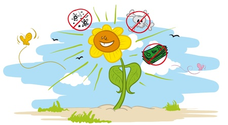 Vector illustration of an healthy plant which is not affected by viruses and chemicals, and which does not cost much to grow
