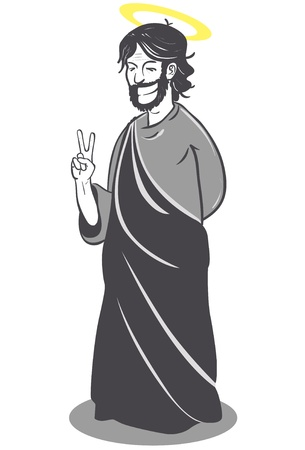 A cartoon vector illustration of jesus with a big smile, standing and making victory sign with one hand Illustration