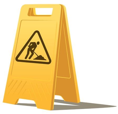 vector standing men at work caution sign Illustration