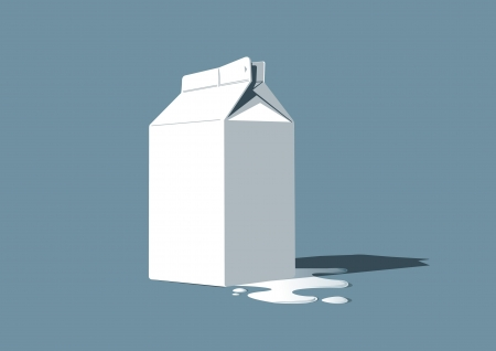 vector illustration of a milk box with some milk spilled around it Illustration