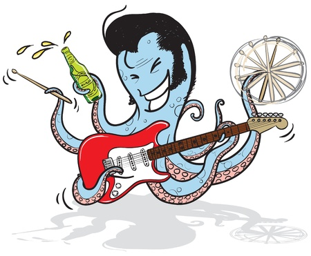 stratocaster: an octopus musician playing guitar, holding drum sticks and beer