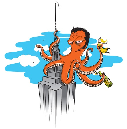 octopus illustrated on a similar scene of the famous movie  king kong , climbing to the empire state building, holding a girl in one of its arms