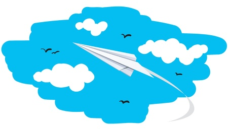 Illustration of a paper plane flying to the sky