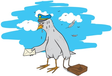 Illustration of a tired pigeon post with an envelope and a bag in his hand Illustration