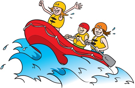 cartoon illustration of three happy people rafting on a boat