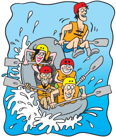 cartoon illustration of five happy people rafting on a boat