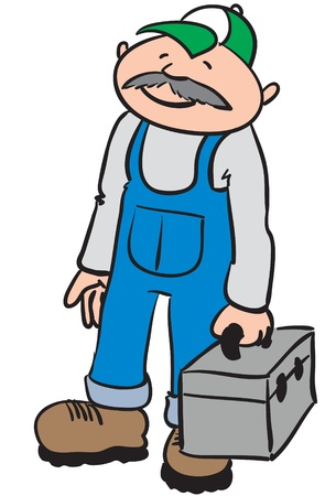 a middle aged repairer with a smiling face, holding a grey tool box  Illustration