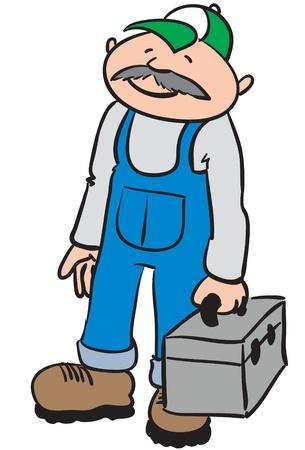 riparatore: un mezzo riparatore invecchiato con un volto sorridente, con in mano una scatola di strumenti grigio
