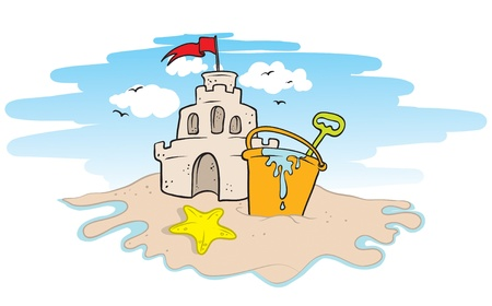 illustration of a sand castle on a beach Illustration