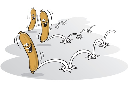 Illustration of three sausages racing, the real fast food
