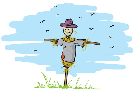 vetor illustration of an old and lonely scarecrow