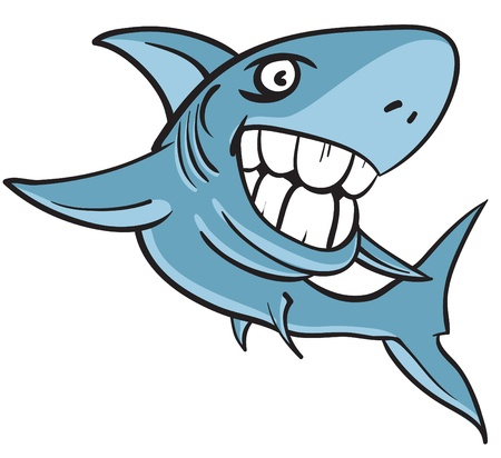 cartoon of a great white shark with big white human teeth Illustration