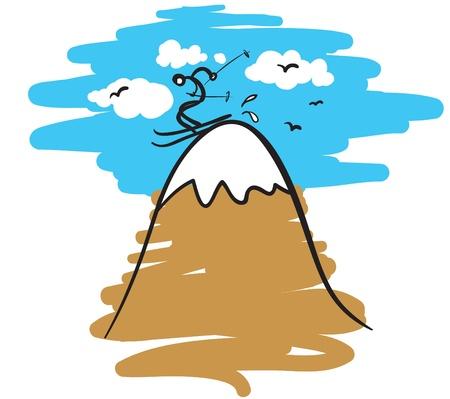 sketch like cartoon illustration of a stickman skier on a high mountain