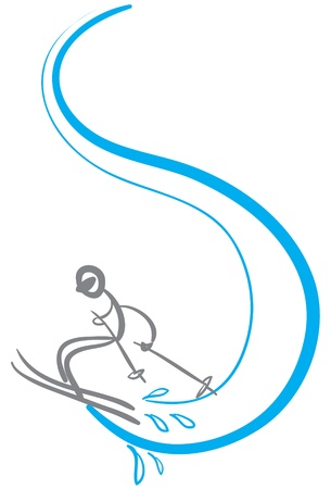 stick man skier in sketch format