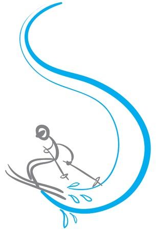 stick man skier in sketch format