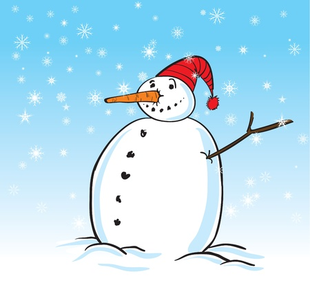cartoon illustration of a smiling snowman  Vector