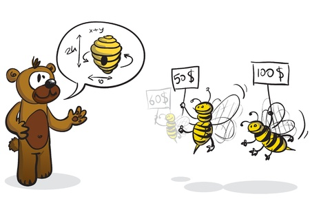 illustration of a bear requesting a beehive and the bees bidding for the construction Illustration