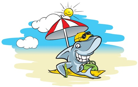 cartoon illustration of a shark sitting on the beach under a sunshade, drinking beer