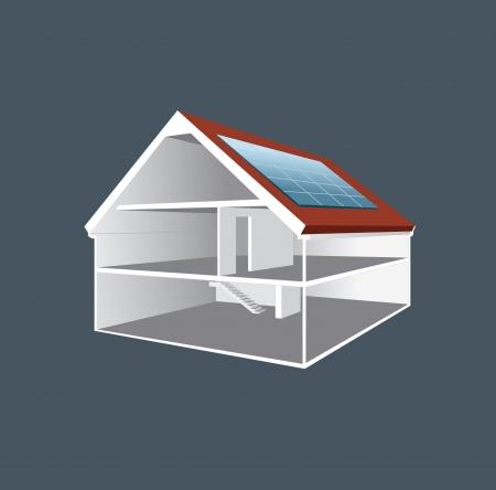 plan maison: illustration en coupe d'une maison vide