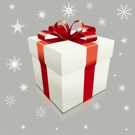 realistic gift box illustration with snow flakes around in the air Illustration