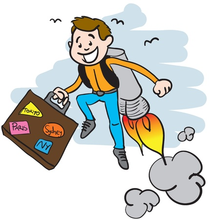 a guy traveling with a jet pack, carrying a suitcase Illustration