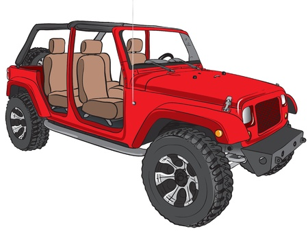 Illustration of a red of road vehicle