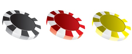 Illustration of 3 different colored poker chips