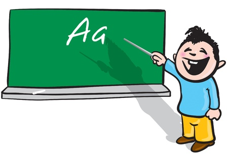 cartoon illustration of a little student standing in front of a blackboard