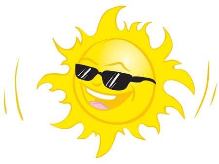 sun  glasses: Illustration of smiling summer sun wearing sun glasses