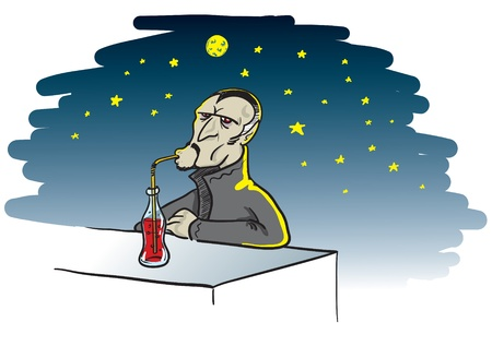 cartoon illustration of a thirsty vampire drinking a bottle of blood on a full moon night Illustration