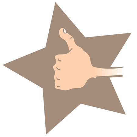 Cartoon illustration of a hand making thumbs up on a star shaped background