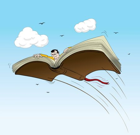 vector illustration of a book traveller, books are the best to travel Çizim