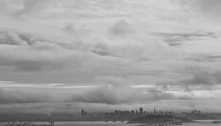 Panoramic View of Foggy San Francisco and Oakland Bay Bridge New Tower - Black and White photo