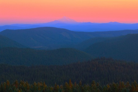 cascade range: Cascades and Mount Jefferson Viewed at Sunset from Timberline Lodge