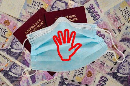 Travel passports of Czech Republic. Czech money is on the background. Stockfoto
