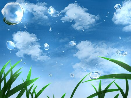 Animated cartoon background Grassy plain after rain Illusztráció