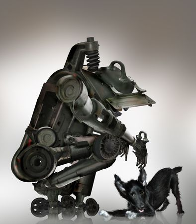 the robot made from photos tank sits and plays with the dog! Stock Photo - 4595010