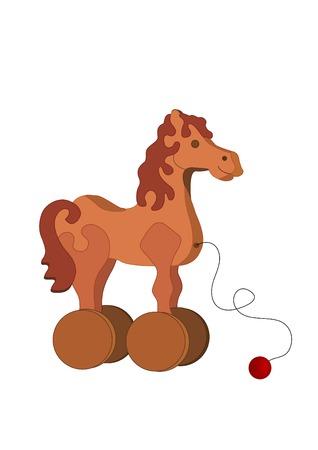 exploit: childrens toy-horse on wheels