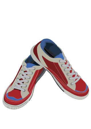 athletic shoes are red blue on a white background