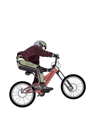 people involved in extreme sports bike, on a white background Illustration