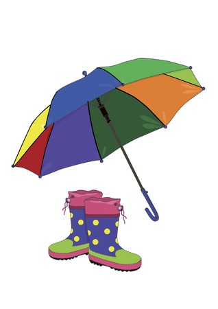 rainy season: umbrella and rubber boots on a white background