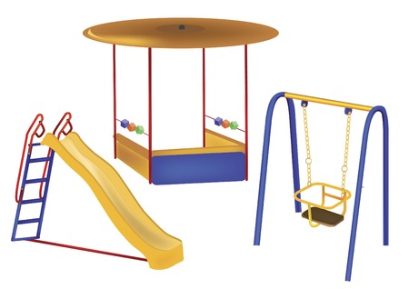 fair play: of childrens playground on a white background
