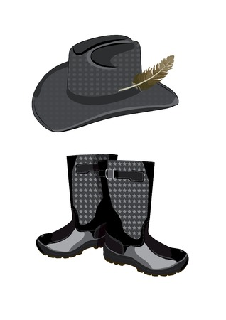 brim: hat with feather and boots for hunting on a white background Illustration