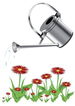 watered: metal watering watered red flowers