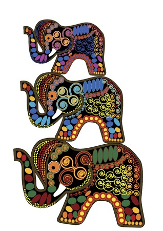 indian ink: three elephants symbolizes good luck, on a white background  Illustration