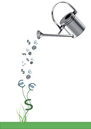 nexus: watering - it economy, which affects the cash nexus Illustration