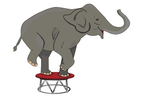 circus elephant: large animal perform a trick on the thumbs Illustration