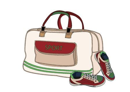 calzado de seguridad: bolsa y los zapatos son recogidos por los deportes Vectores